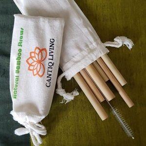 🎋Bamboo Straw set 6 pcs, Brush & travel pouch🎍
